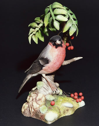 Ceramic & Glaze: Bullfinch with Mountain Ash