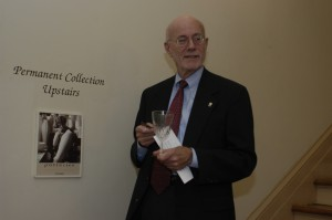 TMS president Richard Willinger addresses patrons at the exhibit opening
