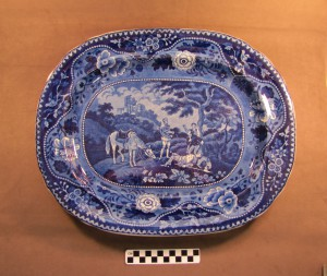 Blue and White Transfer Pattern Platter, part of the Alice Maddock collection of the Trenton Museum Society