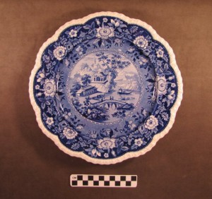 Blue and White Transfer Pattern Plate with Scalloped Edge, Alice Maddock Collection