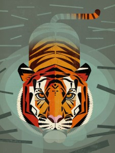 Swimming-Tiger-by-Dieter-Braun-Comtemporary-Fine-Art-Print