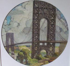 1939 Worlds Fair Painting of Roebling Bridge