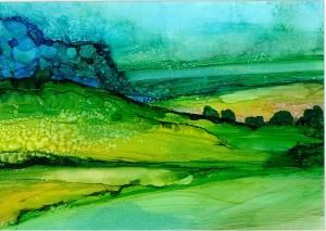 Sherri Andrews_Tranquil Rolling Hills_Mixed Media_Alcohol Ink
