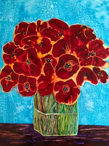 Sherri Andrews, Abstract Poppies in a Vase, Ben Whitmire Purchase Award