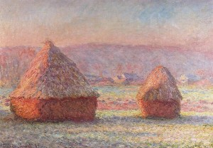 "CLAUDE MONET – ""Meules (Haystacks, white frost)""- 1891 - oil on canvas - Hill-Stead Museum, Farmington, CT"