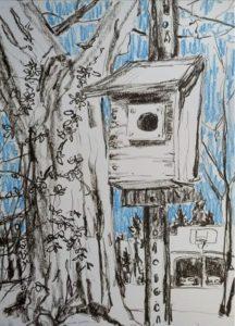 """Birdhouse and Neighbor's Garage"", oil pastel by Laura Nicholson"