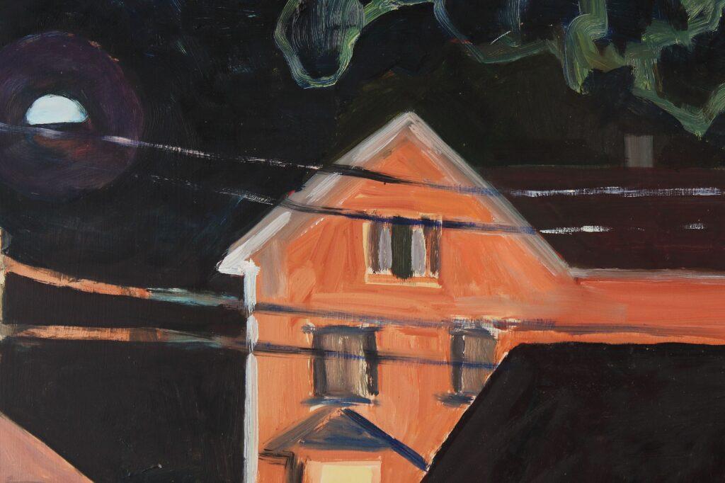 Rt. 1 Rockland Night, Lois Dodd Courtesy of Alexandre Gallery