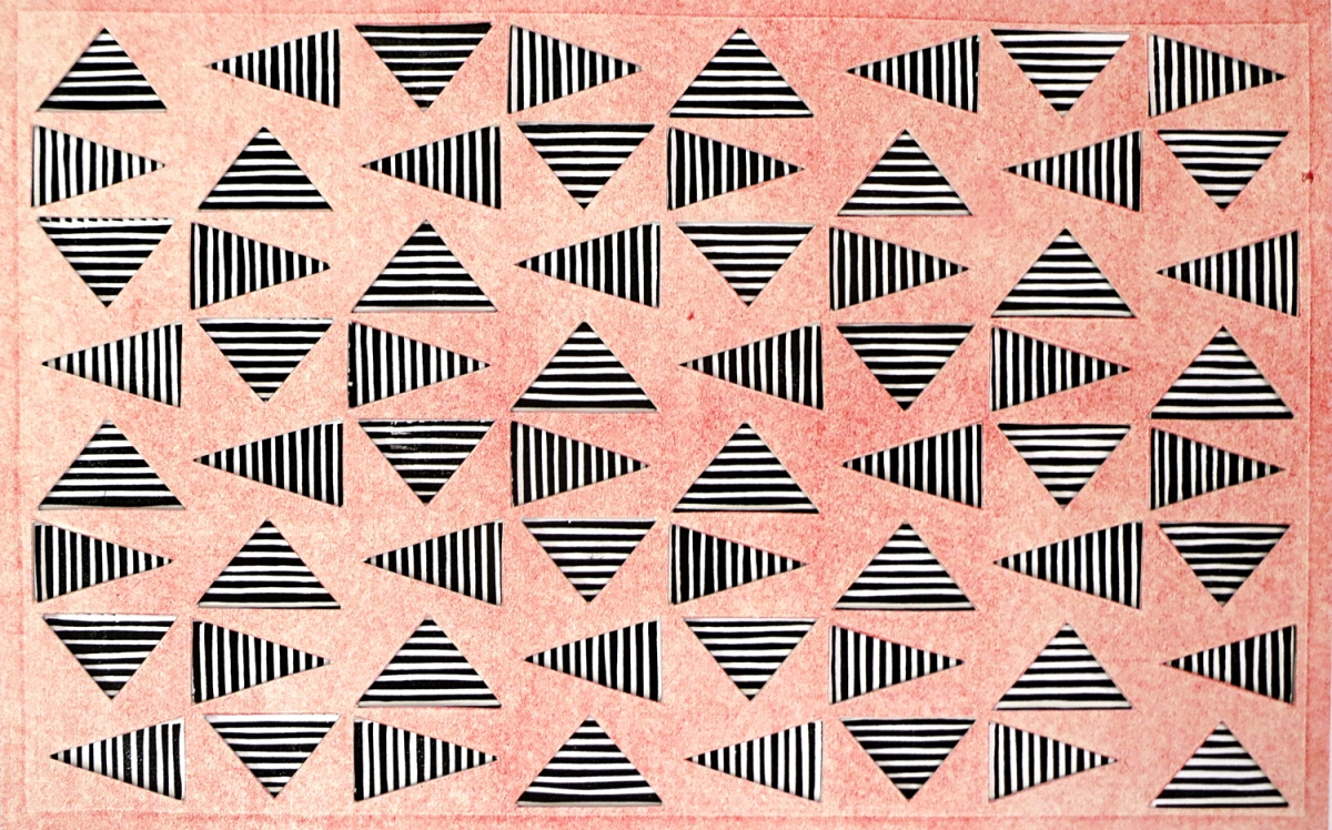 Brookover, Bill Vibrating Triangles (Light Red on Black)