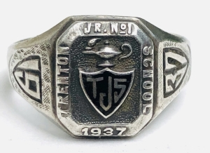 Junior 1 1937 class ring from the collection of Karl J. Flesch