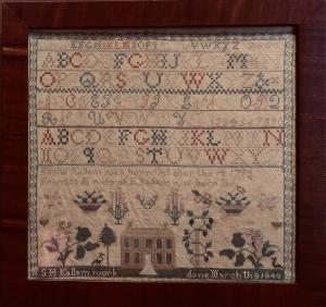 Sarah Kallam sampler - 1843